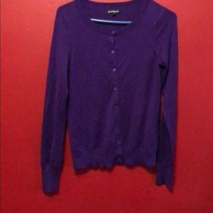 Express Women's Cardigan Purple Sweater Size Small